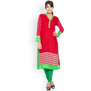 Lovely Cotton Rayon Red Kurti