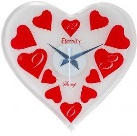 eternity heart shape glass sweep wall clock
