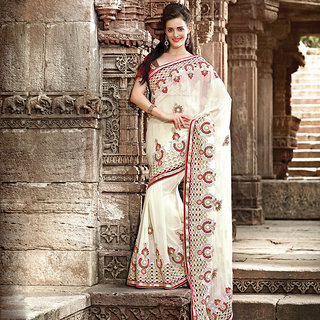 OffWhite Embroidered Saree