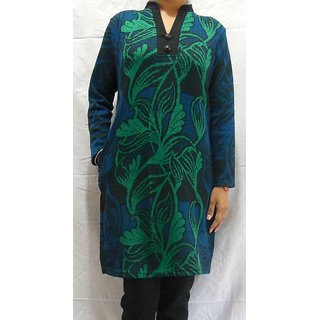 b264861be28 Shop Milestone Woolen Kurti 094GB Green   Blue Online - Shopclues