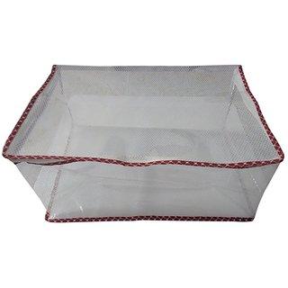 Fashion Bizz Designer Transparent Premium Quality Red Multi- Saree Cover(capacit