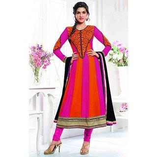 Varanga pinkorange georgette anarkali semi stitched dress material KFSAU2118