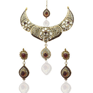 Kriaa Green Traditional Necklace Set in red with Maang Tikka - 11006-22