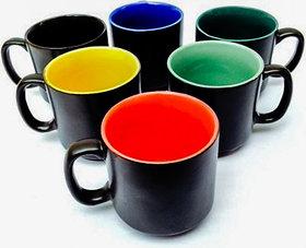 Buyer's Beach Stylish Rangoli- Black- Duo-Tone Straight Cup Set Of-6