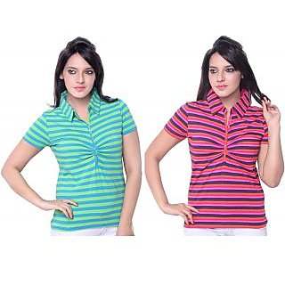 SINIMINI STRIPED WOMEN'S T-SHIRT ( PACK OF 2 )-SCF400012_TBLUE_ORANGE