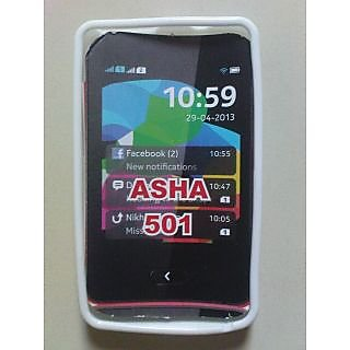 Nokia Asha 501 Soft Silicone Rubber Back Cover Case Pouch High Quality White