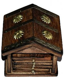 Traditional Coaster Set Hut With Brass Carving