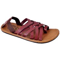 Mens Red,Brown Velcro Sandals