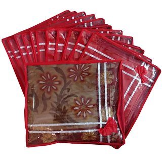 Fashion Bizz Premium Quality Bow Saree Cover Pack Of 12-Red