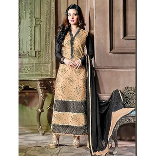 Thankar Black And Cream Embroidered Net And Georgette Straight Suit