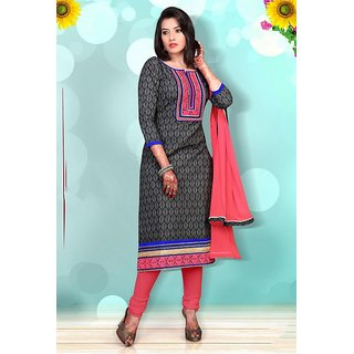 Varanga Blue And Black Dupion Silk Printed Salwar Suit Dress Material (Unstitched)