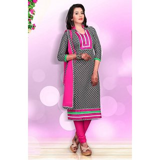 Varanga Pink And Black Dupion Silk Printed Salwar Suit Dress Material (Unstitched)
