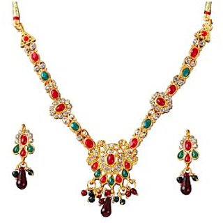 14Fashions Traditional Necklace Set Red & Green - 1100825
