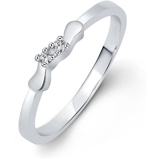 Vighnaharta Modern Simply (CZ) Rhodium Plated  Ring
