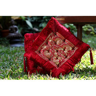 Cushion in Velvet and Brocade in Red and Gold