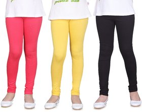 SINIMINI GIRLS LEGGINGS ( PACK OF 3 )-SML1503_TPINK_LYELLOW_BLACK