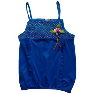 MLP Dark Blue spaghetti Top with Flowers