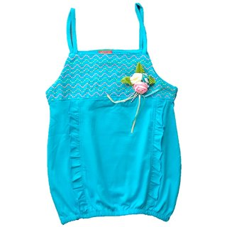 MLP Light Blue spaghetti Top with Flowers