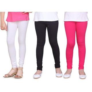SINIMINI GIRLS LEGGINGS ( PACK OF 3 )-SML1503_WHITE_BLACK_RPINK