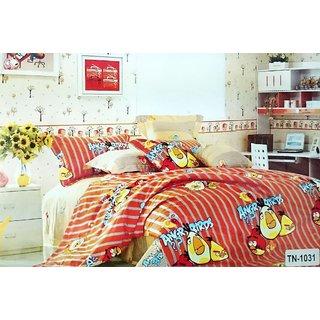 Kids Room Cartoon Cotton Single Bed Sheet In Orange (Design 2)