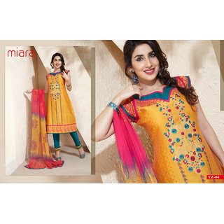 Gold & Turqoise Shaded Unstiched Salwar Kameez Topaz AA292 (Unstitched)