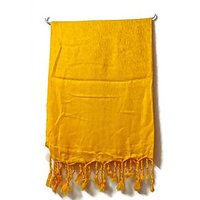 Goodsndeal Yellow Self Design Pattern Shawl Stole