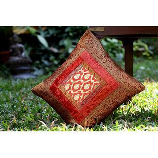 Designer Cushion Cover In Velvet and Tissue Orange/Gold