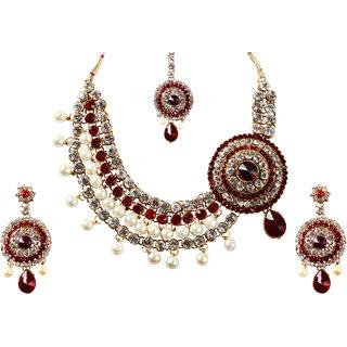 Kriaa Splendid Red Teardrop Pearl Necklace Set with Maang Tikka   -  1102307