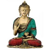 "Redbag Engraved Medicine Buddha 11.75"" Brass Decorative Statue 4762"