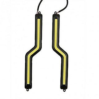 Takecare- 12V Led Cob Car Drl Lamp Fog Light Black Frame Lights White For Toyota Etios Liva