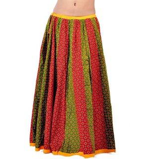 Rajasthani Red Green Fine Cotton Lehanga Skirt 280