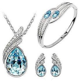 Cyan ocean blue Austrian crystal jewelry set