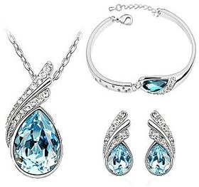 Ocean Blue Austrian Crystal Necklace Set Combo with Crystal Earings and charming