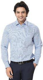 Zorro - Mens Shirt - Formal Checks Shirt - Cotton Full Sleeves - Blue Color