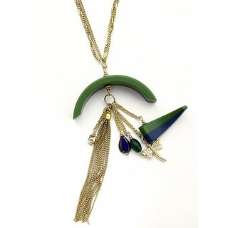 Zurii Colourful Green & Blue Curve Drop Designer Necklace