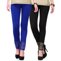 Stylobby Ankle Length Black and Blue Lace legging