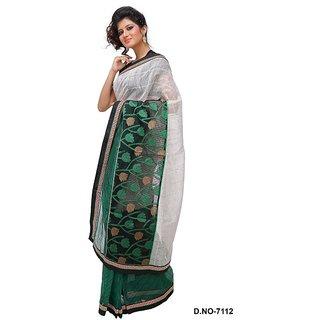 Rama Multicolor Brasso Self Design Saree With Blouse