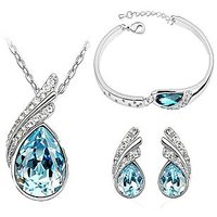 Ocean Blue Austrian Crystal Necklace Set Combo with Crystal Earings and Bracelet
