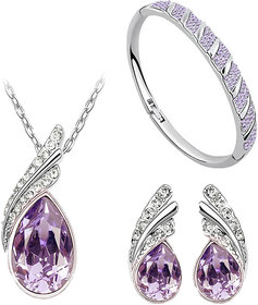 Purple Austrian Crystal Necklace Set Combo with Crystal Earings and Bracelet