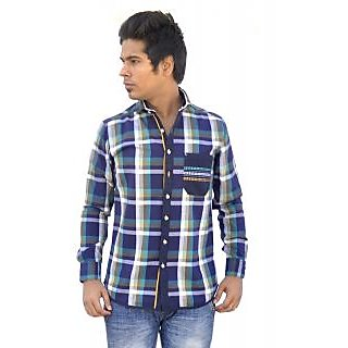 Apris Trendy Green Coloured Checkered Shirt