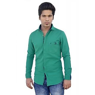 Apris Fine Stylish Count Twill  Weave Solid Full Sleeve Shirt.