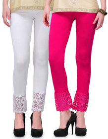 Stylobby Ankle Length Pink and White Lace legging