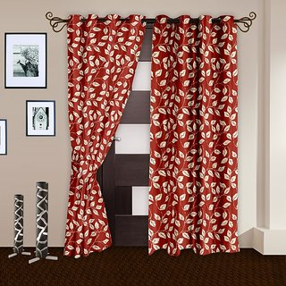 Story@Home Orange set of 2 Door Curtain(7 feet) -Dnr2019
