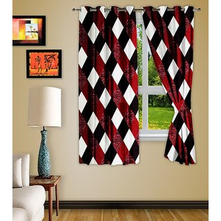 Story@Home Polyester Multicolor Checkered Window Curtain(Set Of 2)