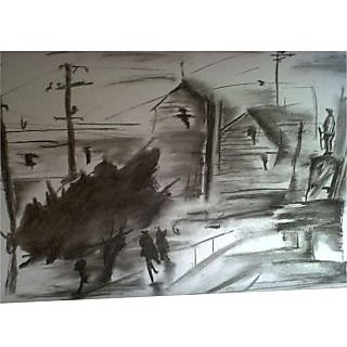 Landscape Beauty On Charcoal Sketches On Paper