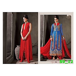 Red Sleeveless Gown With Blue Koti