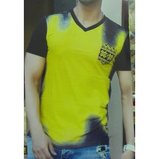 V NECK PLANE T SHIRT YELLOW + BLACK