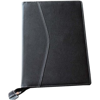 Document Bag Black Faux Leather Executive File Folder