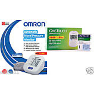 One Touch select glucometer(10 strips free) with 50 strips & Omron HEM-7120 BP