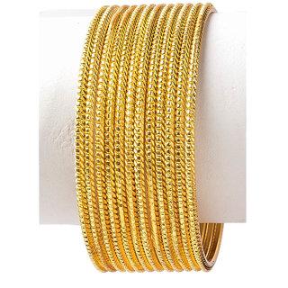 Golden Color Neon Aluminium Indian Bangle Set of 12